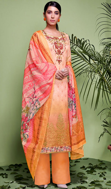 Orange Color Shaded Silk Palazzo Suit