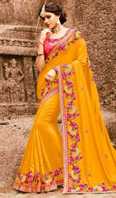 Yellow Color  Embroidered Resham Silk Sari