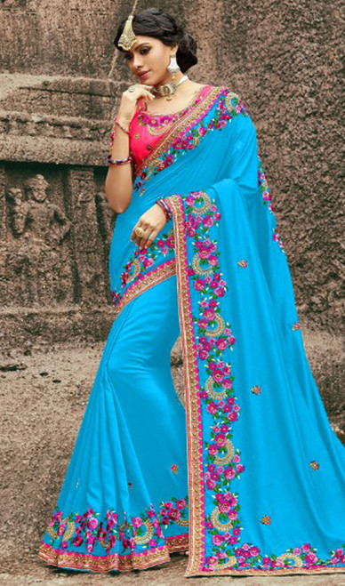 Blue Color Silk Resham Embroidered Sari