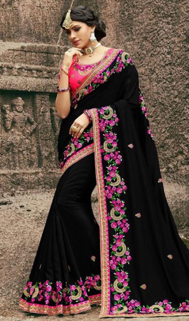 Black Color Resham Embroidered Silk Sari