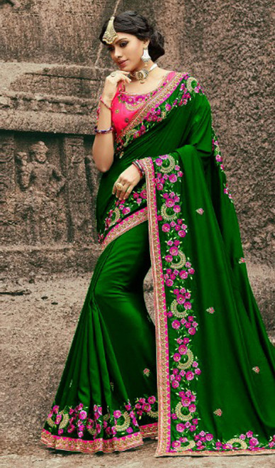 Green Color Resham Silk Embroidered Sari