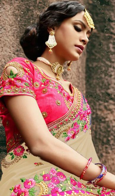 Beige Color Embroidered Silk Sari