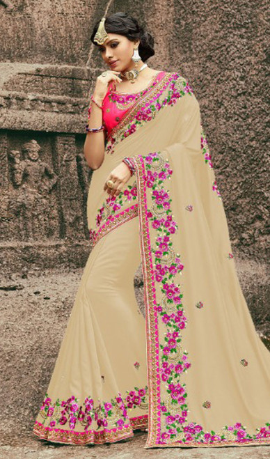 Beige Color Embroidered Silk Sari