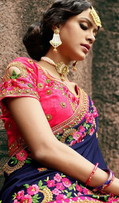 Navy Blue Color Silk Resham Embroidered Sari