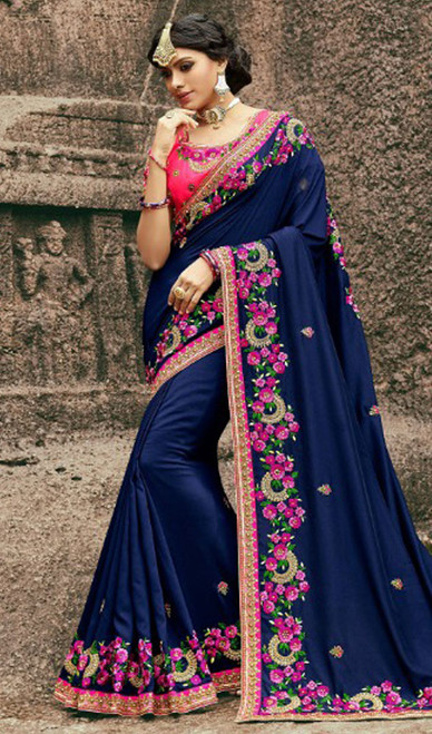 Navy Blue Color Silk Resham Embroidered Sari