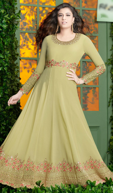 Georgette Light Green Color Embroidered Anarkali Suit