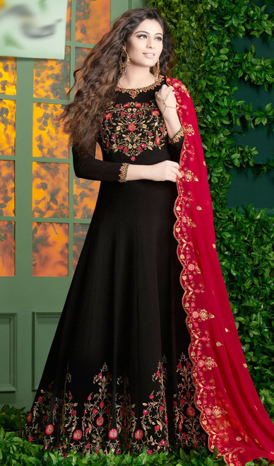 Georgette  Embroidered Black Color  Anarkali Suit
