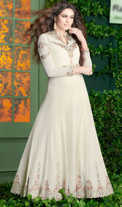 White Color Embroidered Georgette Anarkali Dress