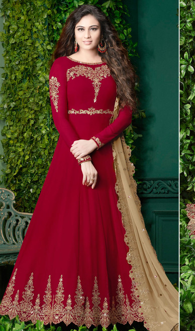Embroidered Red Color Georgette Anarkali Suit