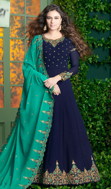 Georgette Navy Blue Color Shaded  Anarkali Suit