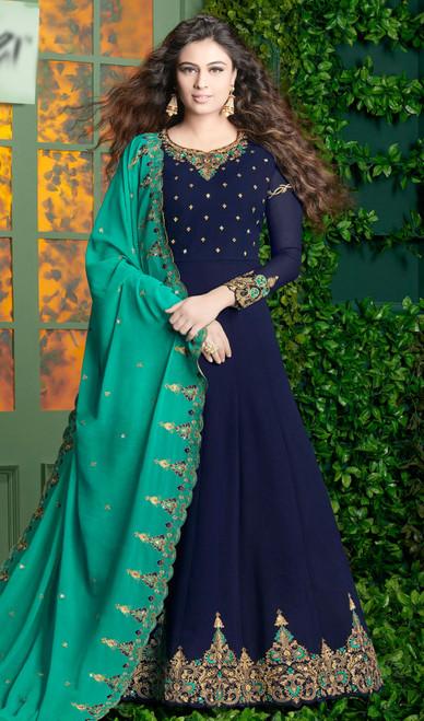 Georgette Navy Blue Color Shaded  Anarkali Suit