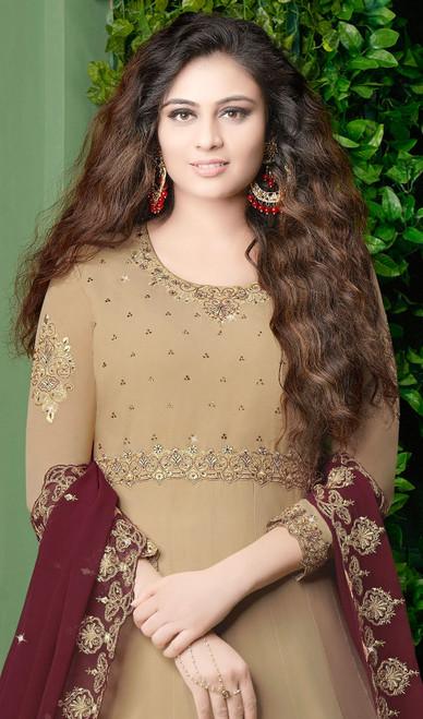 Beige Color Embroidered Georgette Anarkali Dress