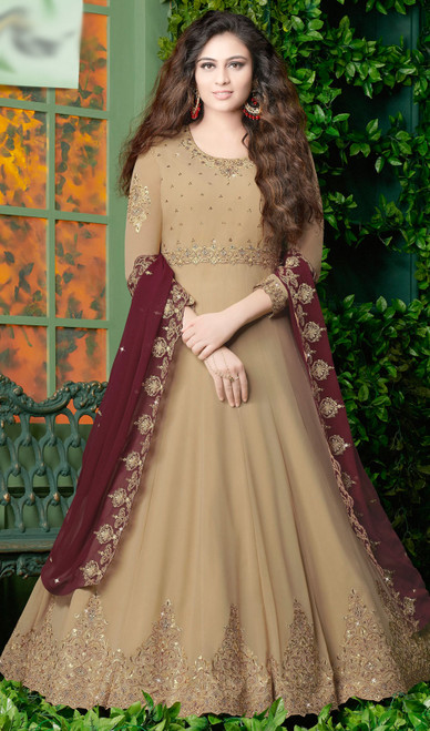 Beige Color Embroidered Georgette Anarkali Dress