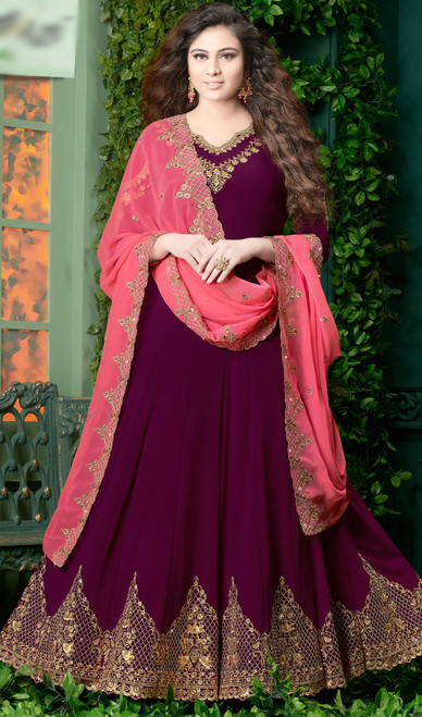 Anarkali Suit in Violet Color Embroidered Georgette