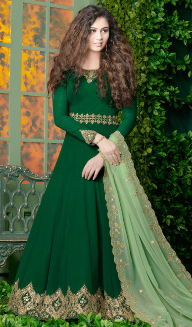 Anarkali Suit, Georgette Fabric in Green Color Shaded