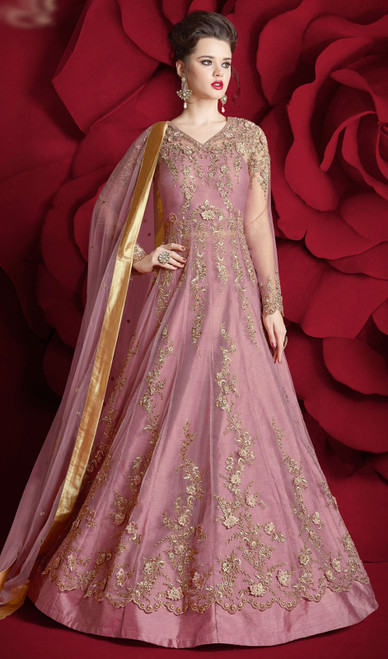 Pink Color Embroidered Net Anarkali Suit