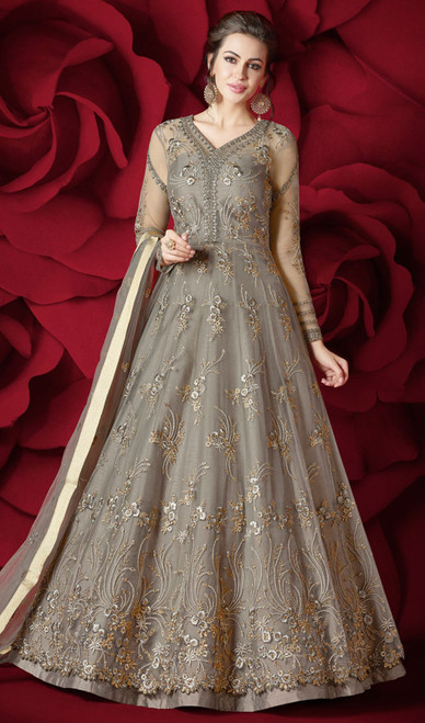 Embroidered Anarkali Gray Color Net Suit