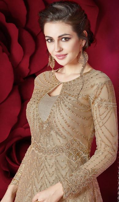 Embroidered Resham Beige Color Net Anarkali Dress