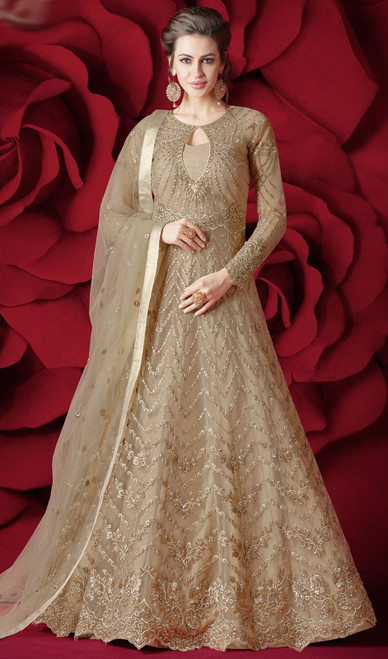 Embroidered Resham Beige Color Net Anarkali Dress