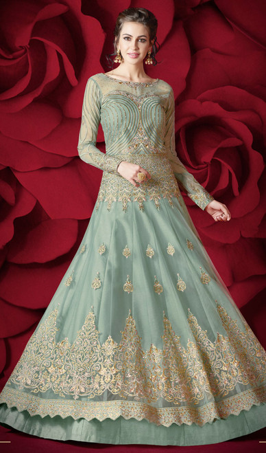 Sky Blue Color Shaded Net Anarkali Dress