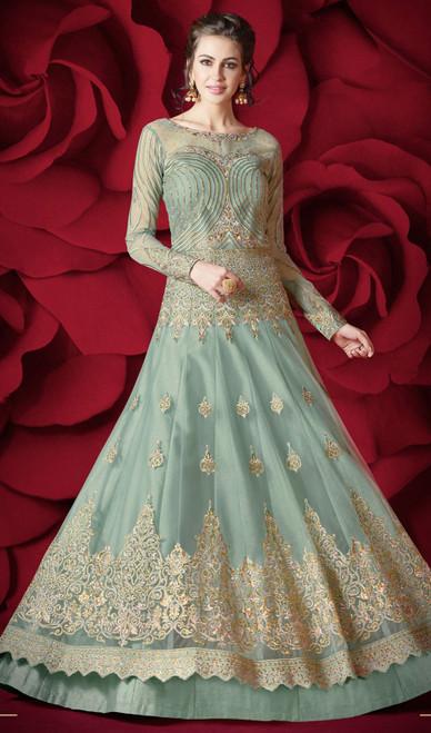 Sky Blue Color Shaded Net Anarkali Dress