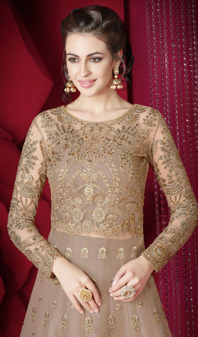 Beige Color Net Embroidered Anarkali Suit