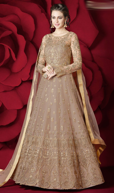 Beige Color Net Embroidered Anarkali Suit