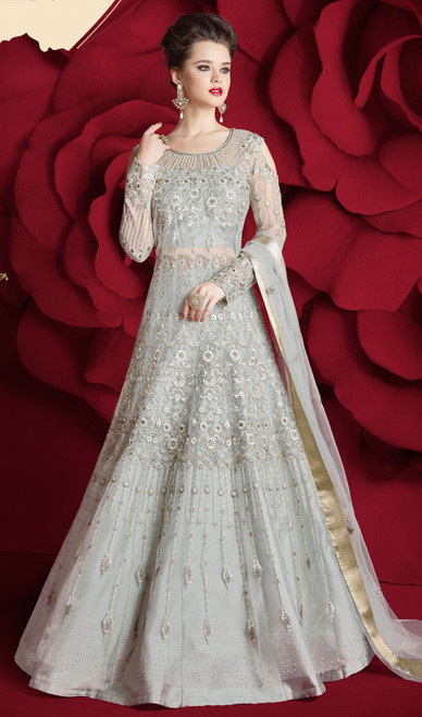 Anarkali Suit in Gray Color Embroidered Net