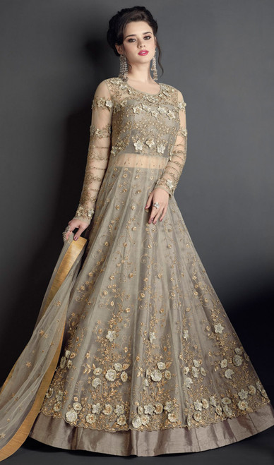 Gray Color Embroidered Resham Net Anarkali Suit