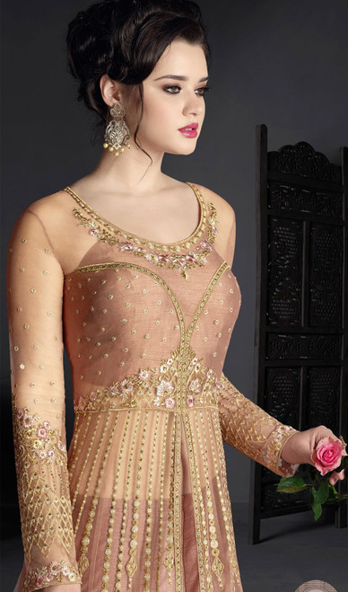 Light Peach Color Net Embroidered Resham  Anarkali Dress