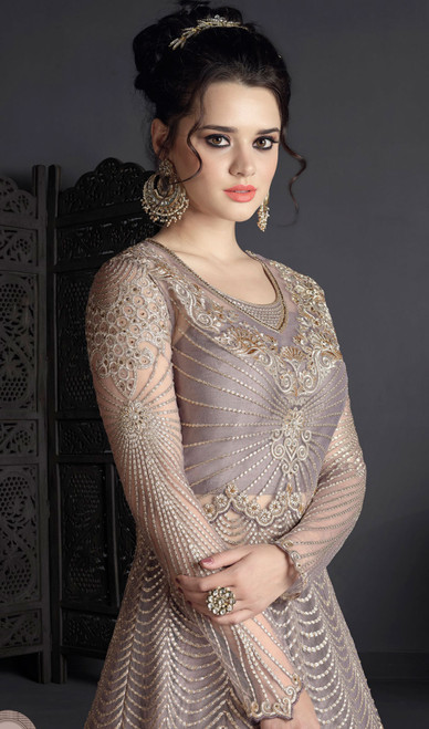 Anarkali Suit in Light  Gray Color Embroidered Net