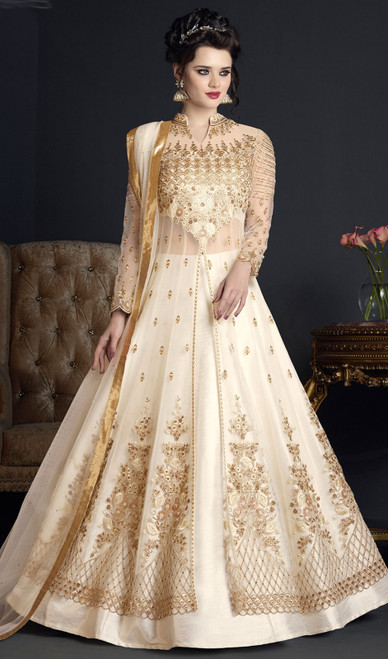 Off White Color Embroidered Net Anarkali Suit