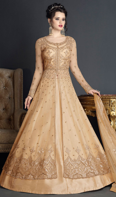 Golden Color Net Embroidered Anarkali Dress