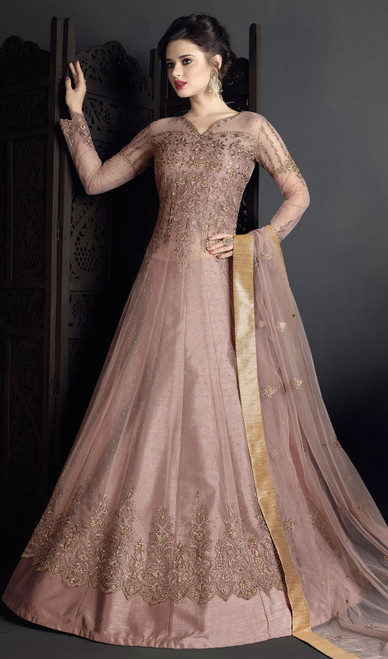 Light Pink Color Embroidered Net Anarkali Suit