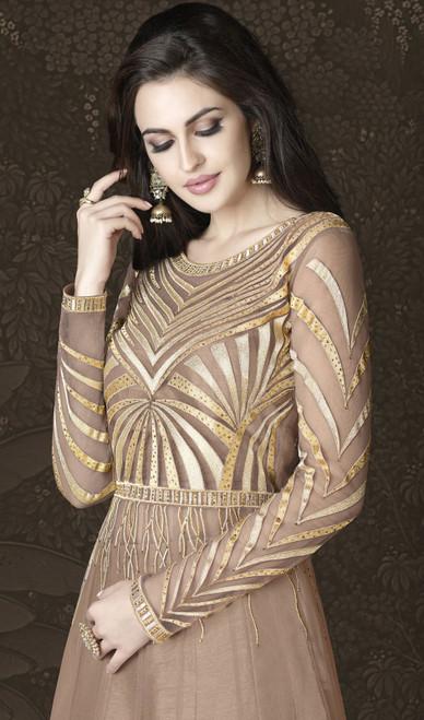 Brown Color Shaded Resham Embroidered Net Anarkali Suit