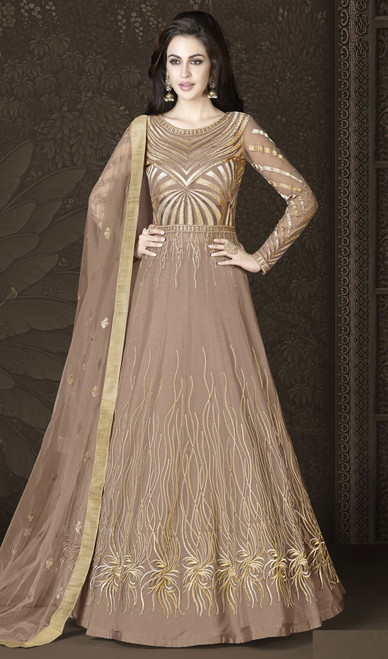 Brown Color Shaded Resham Embroidered Net Anarkali Suit