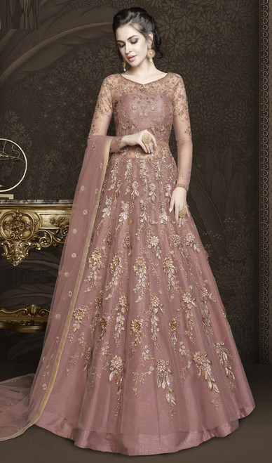 Pink Color Embroidered Resham Net Anarkali Dress