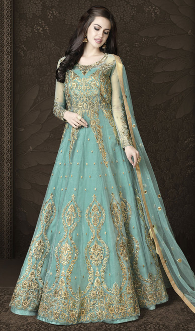 Turquoise Color Net Embroidered Anarkali Suit