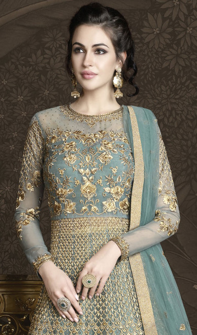 Sky Blue Color Shaded Net Embroidered Anarkali Suit