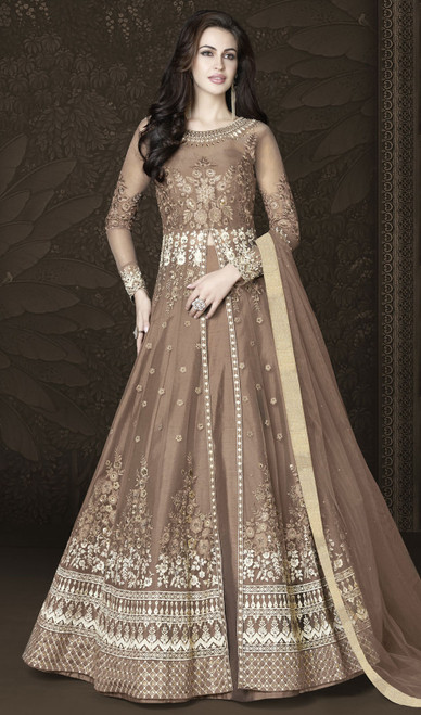 Anarkali Suit in Brown Color Shaded Embroidered Net