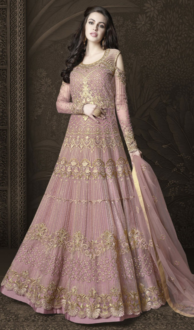 Pink Color Shaded Net Embroidered Anarkali Suit