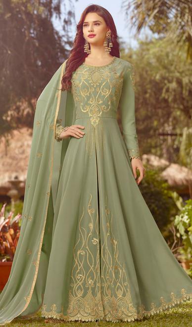 Light Green Color Resham Embroidered Georgette Anarkali Suit