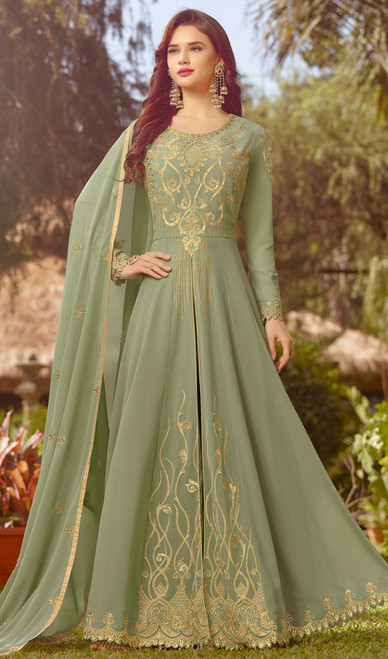 Light Green Color Resham Embroidered Georgette Anarkali Suit