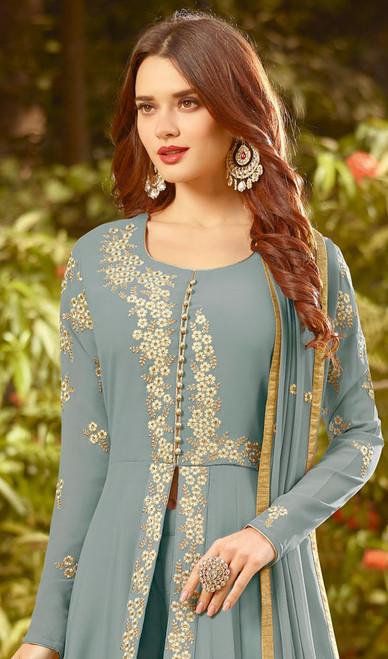 Gray Color Embroidered Georgette Anarkali Suit