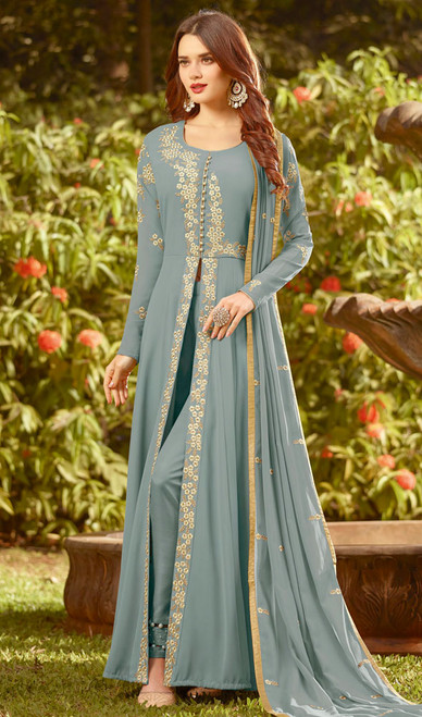 Gray Color Embroidered Georgette Anarkali Suit