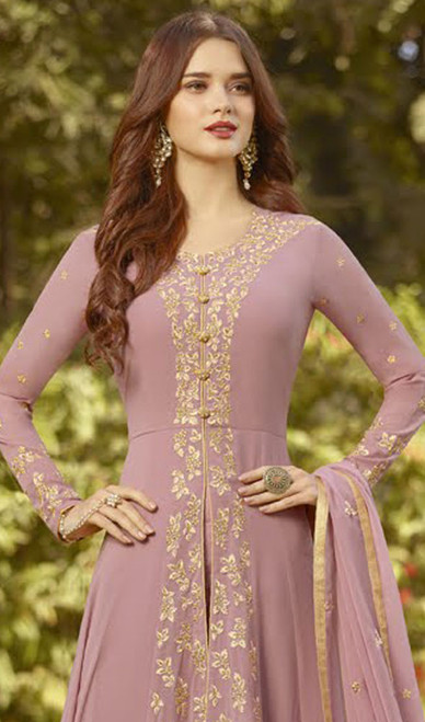 Pink Color Embroidered Resham Georgette Anarkali Suit