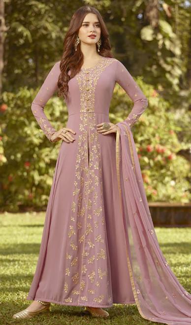Pink Color Embroidered Resham Georgette Anarkali Suit
