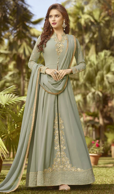 Anarkali Suit in Rakhodi Color Shaded Georgette