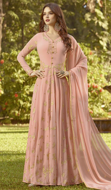 Light Peach Color Embroidered Georgette Anarkali Suit