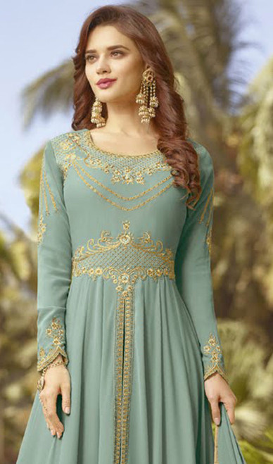 Anarkali Suit, Georgette Fabric in Gray Color Shaded